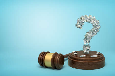 3d rendering of question mark formed with dollar banknotes standing on sounding block with gavel beside on blue background with copy space. Stockfoto