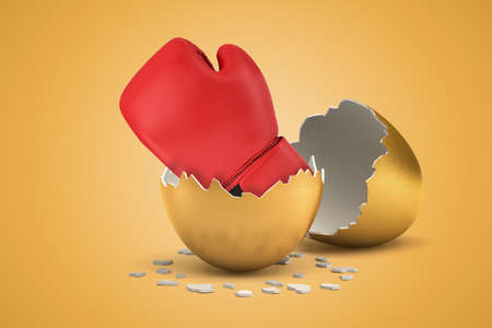 3d rendering of red boxing glove that just hatched out from golden egg on light ocher background.