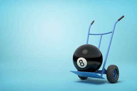 3d close-up rendering of black bowling ball on blue hand truck on light-blue background.