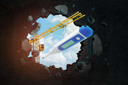 3d rendering of construction crane and medical digital thermometer breaking black wall with blue sky background