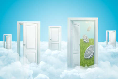 3d rendering of five doors standing on fluffy clouds, one door leading to green lawn with three metal gearwheels falling from sky. Imagens