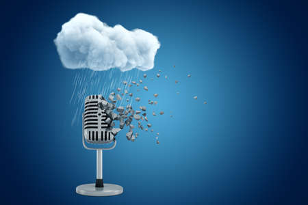 3d rendering of microphone dissolving into small pieces standing under raining cloud on blue gradient background with copy space.