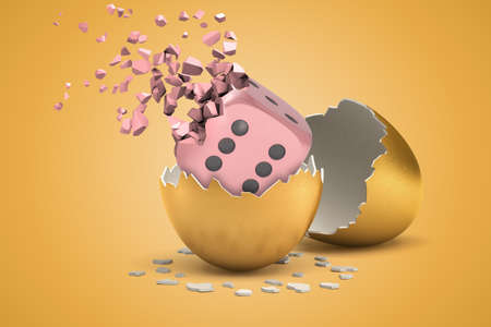 3d rendering of pink die cube hatching out from golden egg and disintegrating into small pieces on light-ocher background.