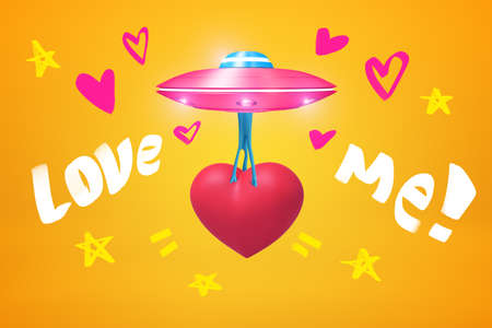 3d rendering of pink UFO carrying beautiful red heart and flying against amber background with small hearts, stars and Love me  title on it.