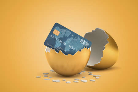 3d rendering of blue bank card hatching out of golden egg on yellow background
