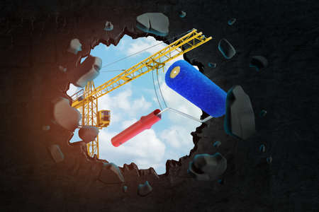 3d rendering of hoisting crane carrying blue paint roller and breaking hole in black wall with blue sky seen through. Zdjęcie Seryjne
