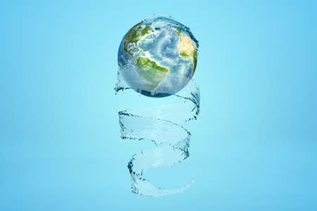 3d rendering of Earth and transparent whirlpool wrapping itself around it like ribbon on blue background.
