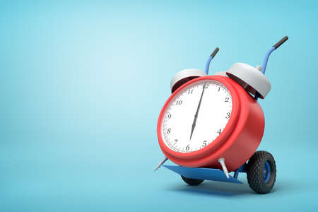 3d rendering of alarm clock on a hand truck on blue background