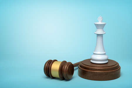 3d rendering of white chess king standing on sounding block with gavel lying beside on light-blue background.