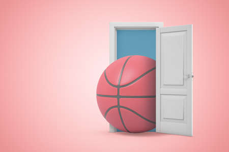 3d rendering of huge basketball emerging from open door on pink gradient copyspace background. Zdjęcie Seryjne