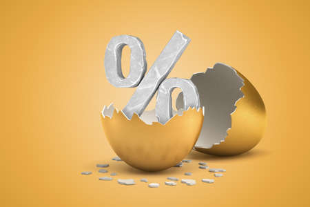 3d rendering of grey percent sign hatching out of golden egg on yellow background Zdjęcie Seryjne