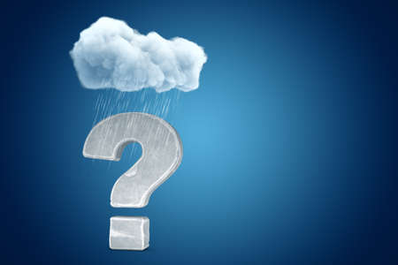 3d rendering of stone question mark under raining cloud on blue gradient background with copy space. Zdjęcie Seryjne