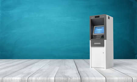 3d rendering of ATM machine on white wooden floor and dark turquoise background. Business and finance. Banking and financial industry. Management and savings.