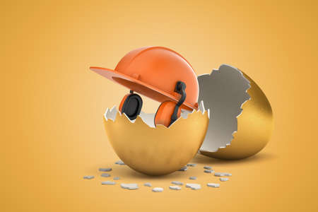 3d rendering of orange protective hard hat with headphones hatching out of golden egg on yellow background. Building and construction. Protective equipment. Banking and finance.