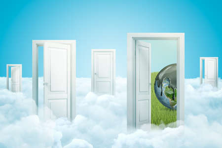 3d rendering of five doors standing on fluffy clouds, one door leading to green lawn with small Earth on it, planets top covered in grey liquid. Oil spills. Industrial impact. Environmental concern. Imagens