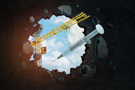 3d rendering of hoisting crane carrying syringe and breaking hole in black wall with blue sky seen through.