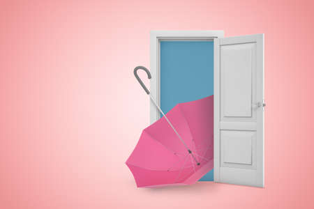 3d rendering of a white open doorway with pink umbrella on light pink background 写真素材
