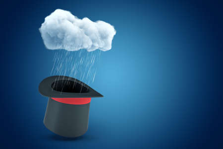 3d rendering of black top hat with red ribbon standing upside down under raining cloud on blue copyspace background. Фото со стока