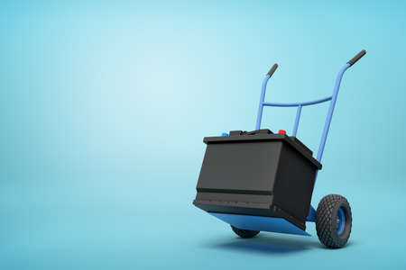 3d rendering of blue hand truck with black accumulator box on top on light-blue background with copy space. Reklamní fotografie