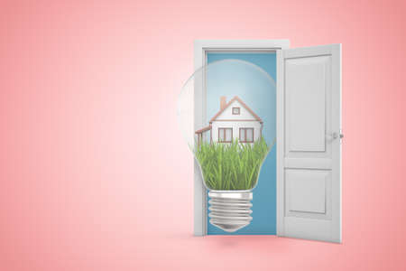 3d rendering of big light bulb with small house on green lawn inside emerging from open door on pink copyspace background.