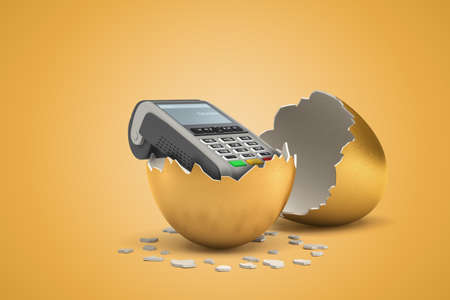 3d rendering of point-of-sale terminal that just hatched out from golden egg. Stock Photo