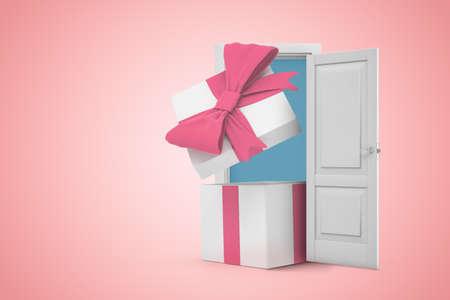 3d rendering of open gift box in white doorway on light pink background Banco de Imagens