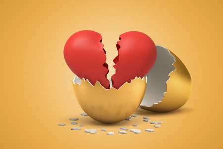 3d rendering of red broken Valentine heart that just hatched out from golden egg.