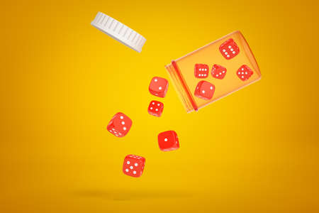 3d rendering of red casino dice falling from a plastic jar on yellow background