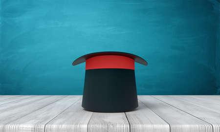 3d rendering of black top hat on white wooden floor and dark turquoise background Banco de Imagens