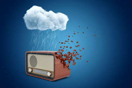 3d rendering of brown radio set that is dissolving into pieces from one side, standing under raining cloud on blue background.