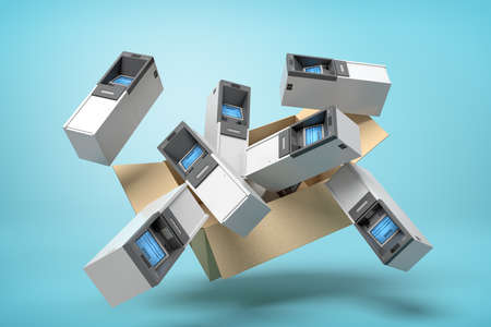 3d rendering of cardboard box in air full of several ATMs which are flying out and floating outside on blue background.