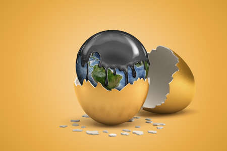 3d rendering of earth globe covered with black thick liquid hatching out of golden egg on yellow background