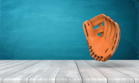 3d rendering of leather baseball glove on white wooden floor and dark turquoise background Banque d'images - 129485095