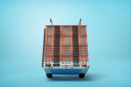 3d rendering of small 16-storeyed block of flats on blue hand truck on light-blue background.