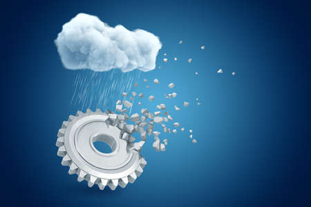 3d rendering of big metal cogwheel starting to dissolve from one side, under raining cloud on blue gradient background with copy space. Stockfoto