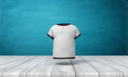 3d rendering of white men T-shirt with black edge piping, suspended in air above wooden floor, near blue wall.