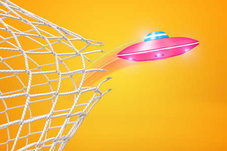 3d rendering of pink UFO breaking through football gate net on yellow background