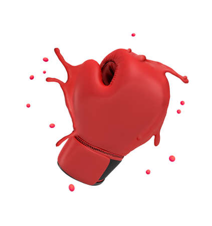 3d rendering of red boxing glove splashing isolated on white background Standard-Bild - 129485105