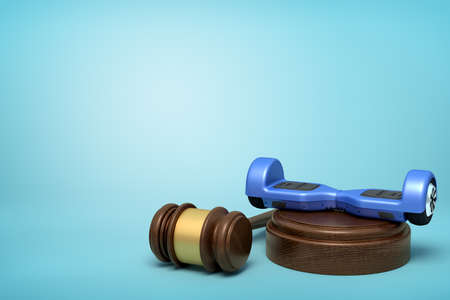 3d rendering of blue hoverboard on round wooden block and brown wooden gavel on blue background