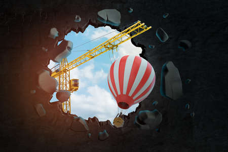 3d rendering of hoisting crane carrying striped hot-air balloon and breaking hole in black wall with blue sky seen through.