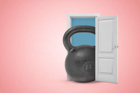 3d rendering of huge black 24 kg kettle bell emerging from white door on pink gradient copy space background. Stok Fotoğraf - 129486284