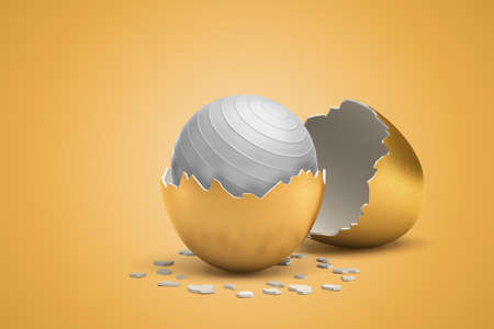 3d rendering of white fit ball hatching out of golden egg on yellow background