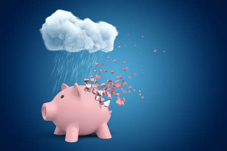 3d rendering of pink piggy bank that is dissolving in pieces, standing under cloud of pouring rain on blue copy space background.