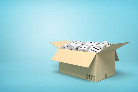 3d rendering of cardboard box full of white dice with black spots on light-blue background with copy space.