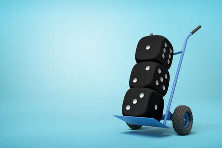 3d rendering of three black casino dice on a hand truck on blue background