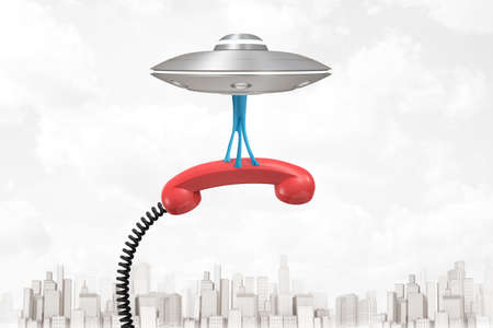 3d rendering of silver metal UFO carrying red retro telephone receiver on white city skyscrapers background