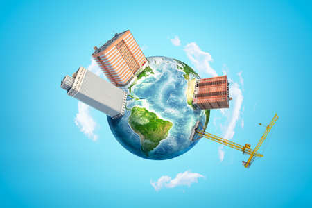 3d rendering of planet Earth in blue sky, with three super-huge blocks of flats and one hoisting crane on its surface.