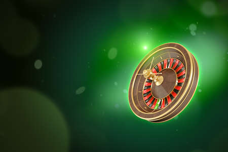 3d rendering of casino roulette on neon green background