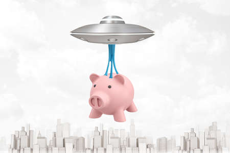3d rendering of light-grey UFO flying above modern city, carrying pink piggy bank hanging down on blue sticky slime below UFO. Imagens