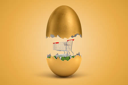 3d rendering of shopping cart hatching out of golden egg on yellow background